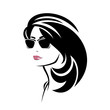 beautiful brunette woman with gorgeus black hair wearing sunglasses vector portrait