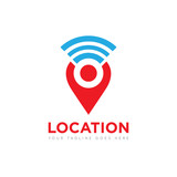 people location pin logo, icon, symbol, vector design template