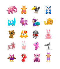 vector set of isolated сute friendly toys of different animals © Mosaic
