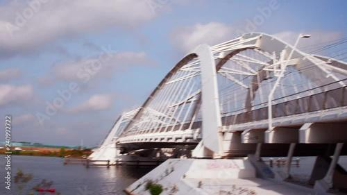 The Enneüs Heerma bridge links the Zeeburgereiland with the Steigereiland, Amsterdam, The Netherlands