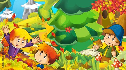 cartoon autumn nature background with boy gathering mushrooms - illustration for children