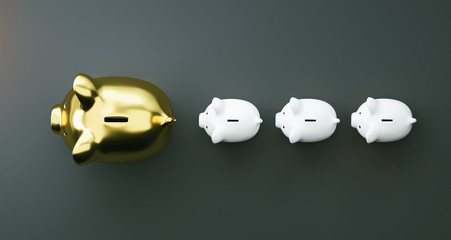 Gold piggy bank as row leader, investment and development concept