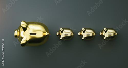 Leinwandbild Motiv Gold piggy bank as row leader, investment and development concept