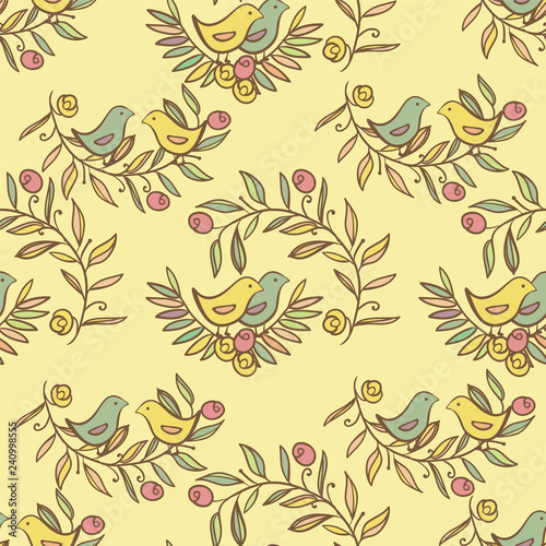Vintage Floral Seamless Background with Birds, watercolor Illustration - 240998555