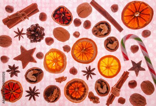 bożonarodzeniowe produkty izolowane widok z góry © Darios