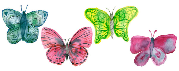 Four watercolor bright colorful butterflies on a white background. © Natalia