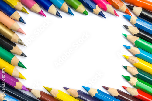 Colorful pencils frame isolated on white background