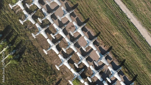 Airplanes At Abandoned Airport From Aerial View