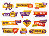 Retail sale tags. Cheap price flyer, best offer price and big sale pricing tag badge design isolated vector collection - 241022522