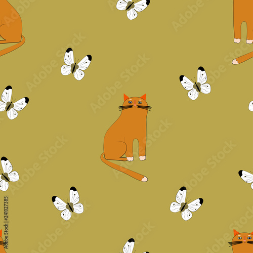 obraz lub plakat Cute vector cats on beige background with butterflies. Vector seamless pattern design. Cute hand drawn animals.