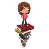 Niño sobre montón de libros - 241033112
