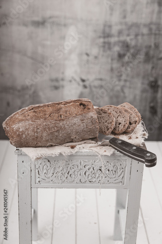 fresh walnut bread on a table - 241045567