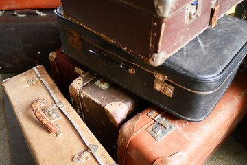 many old vintage travel bags, horizontal photography © Schum