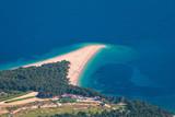 Zlatni Rat (Golden Cape or Golden Horn) famous turquoise beach in Bol town on Brac island, Dalmatia, Croatia. Zlatni Rat sandy beach at Bol on Brac island of Croatia in summertime. - 241073566