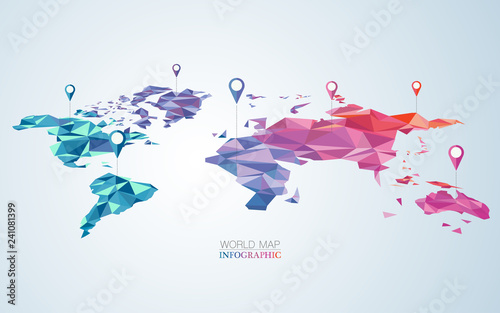 polygon world map element for infographic or decoration