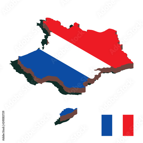 Isometric map of France in national colors. Isolated 3D isometric vector illustration for infographic.