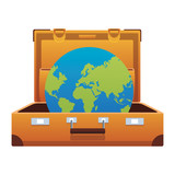 travel suitcase icon with - 241085104