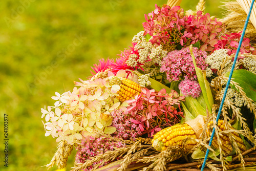 Foto Murales Bouquet made of field flowers and hay