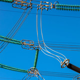 High Voltage Industrial sized electrical power lines - 241096579