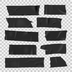 Insulating adhesive sticky black tape, realistic style set © Vikivector