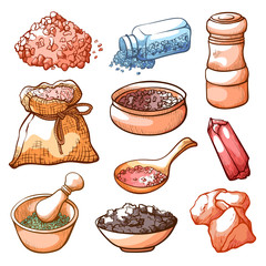 Salt hand drawn set, cooking natural ingredient © Vikivector