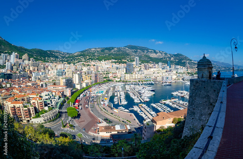 Aerial view over Monaco city, Generic architecture around seaside and famous port in summertime - Europe - 241103996