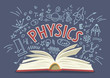 Physics. Open book with doodles with lettering.