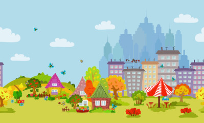 autumn seamless cityscape for your design © Aloksa