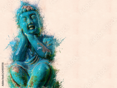 Green Buddha in painted in isolated environment