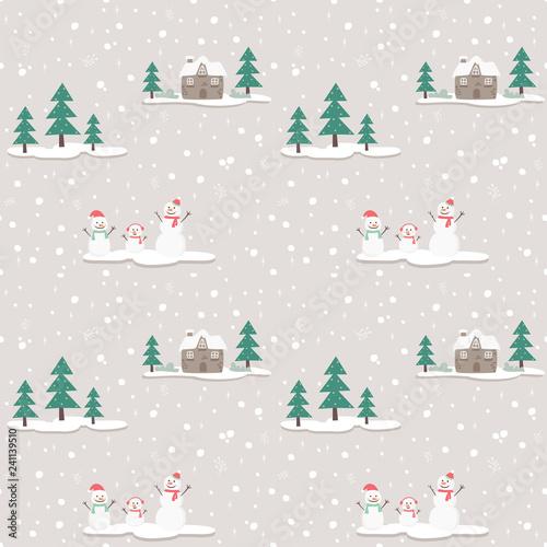 obraz lub plakat seamless pattern snowman on gray background