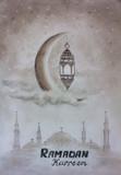 Pencil art sketch hand drawing Ramadan kareem greeting template islamic crescent and arabic lantern in clouds painting illustration artwork on paper art