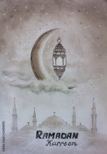Pencil art sketch hand drawing Ramadan kareem greeting template