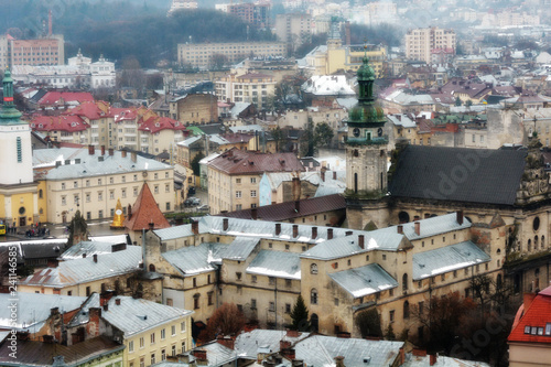 Ancient Lviv view from height. Nice view of the ancient city, a tourist place.