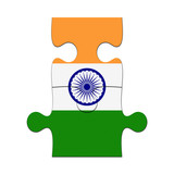 India Flag Jigsaw Puzzle Pieces, 3d illustration background