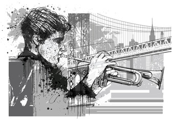 Trumpet player in New York (Brooklyn) © Isaxar