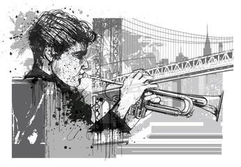 Trumpet player in New York (Brooklyn) © Isaxar