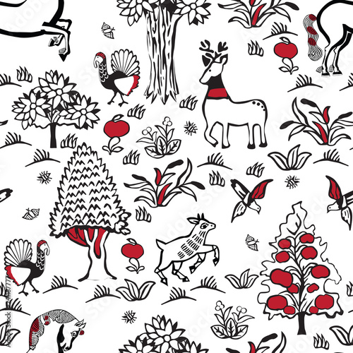 Russian fairy folklore. Seamless pattern in the old Slavian style. © roman4