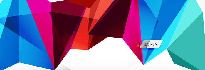 Mosaic triangular low poly style abstract geometric background. Polygonal vector. Abstract white bright technology design. © antishock
