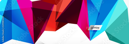 Mosaic triangular low poly style abstract geometric background. Polygonal vector. Abstract white bright technology design. - 241181304
