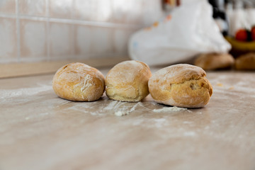 Italian bread on white marble background. Fresh homemade bread bakery