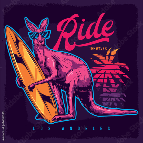 Original vector illustration in neon style. Kangaroo surfing in paws on the beach.