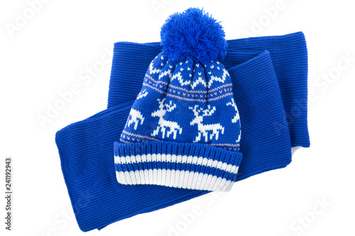 93f4f025e81 Blue knitted scarf winter bobble hat isolated white background