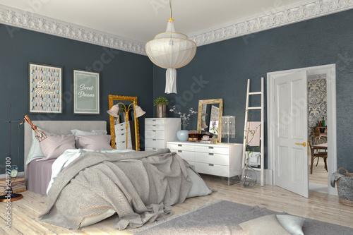 Leinwandbild Motiv Skandinavisches, nordisches Schlafzimmer mit einem großen Bett