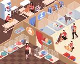 Animal Shelter Isometric Illustration