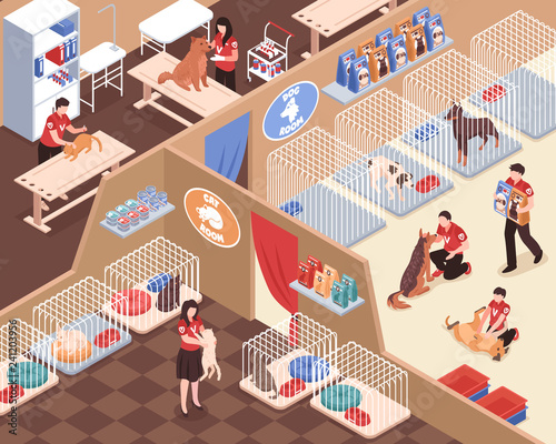 Animal Shelter Isometric Illustration - 241203956