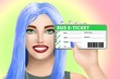 Concept bus e-ticket (electronic ticket). Drawn cute girl on bright background. Illustration