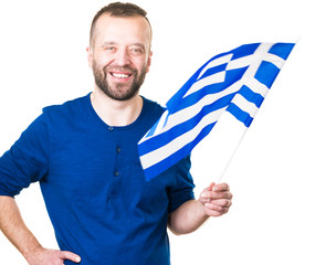 Man with greek waving flag, on white