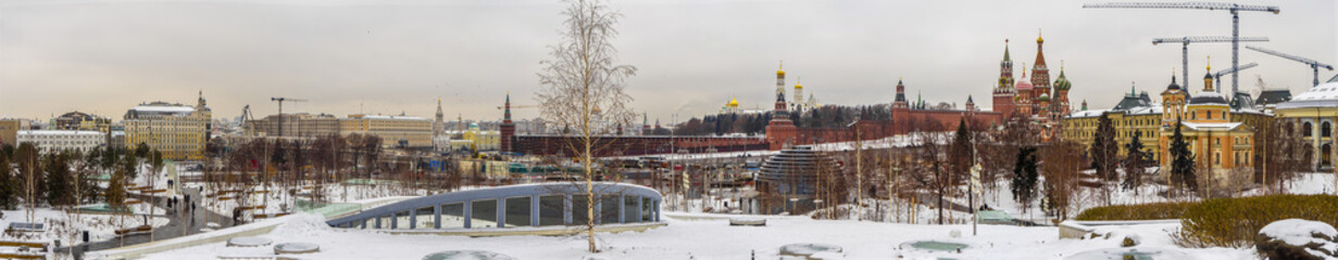 Panoramic winter Moscow town and Kremlin by Zaryadye Park. © IURII