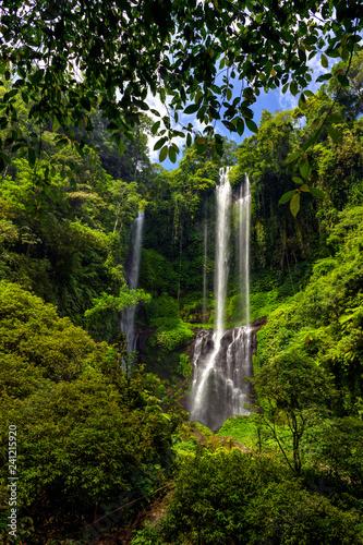 Secumpul waterfalls - amazing tourist place in Bali island, Indonesia. Beautiful waterfalls hidden in Bali mountains. - 241215920
