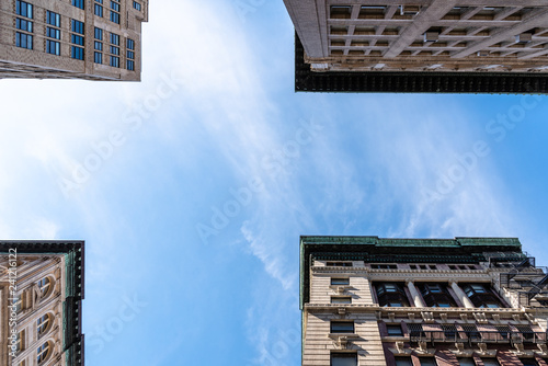 Low angle view of old apartment buildings in Tribeca - 241216122